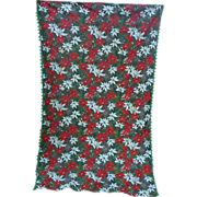Red White Poinsettias Pine Cones Green Pom Pom Fringe Holiday Vintage 60's Christmas ...
