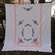 SALE Spring Posies and Bows Multicolor Floral Vintage Chenille Bedspread