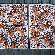 SOLD Pair of Vera Table Napkins Earthy Ferns Print Mint WT