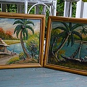SALE Pair Tropical Fishing Village 3-D Oil Paintings Bamboo Frames