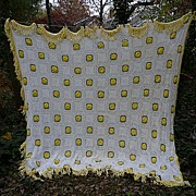 SOLD Irish Roses Yellow Green White Handmade Crochet Bedspread Queen - Red Tag Sale Item