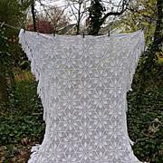 SOLD Heirloom Star Snowflake Pattern Hand Crochet Bedspread