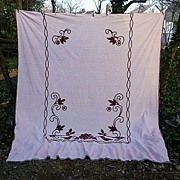 SALE Pink with Burgundy Flowers and Scrolls Vintage Chenille Bedspread