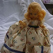 "SALE Nancy Ann Storybook Doll Blond Floral Print Blue Ribbon Trim Dress 5 1/2"" HP"