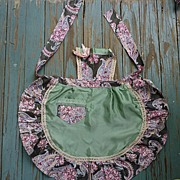 SALE Pinafore Paisley Rose Chintz and Satin Apron