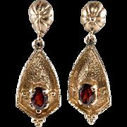 14K Gold and Garnet Dangle Pierced Earrings