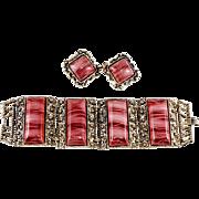 1950s Wide Pink Swirl Bracelet & Earrings Set