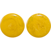 SALE Bakelite Marbled Yellow Round Clip Earrings