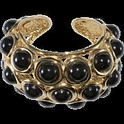 KJL Style Black Gold Hinged Cuff Statement Bracelet