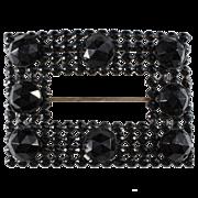 SALE Black Glass & Enamel Sash Pin Brooch c. 1890s