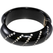 Black & Clear Rhinestone Thermoset Plastic Clamper Bracelet