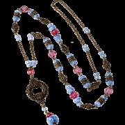 E.A. Bliss c. 1920 Pink & Blue Glass Sautoir Necklace