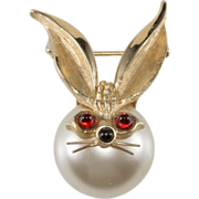 Boucher Faux Pearl Rabbit Pin Brooch