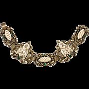 1950s Asian Simulated Ivory Buddha & Dragon Bracelet