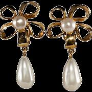 SALE PENDING CHANEL Bow Faux Pearl Dangle Earrings 1970s