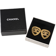 SALE CHANEL CC Logo Triangle Earrings