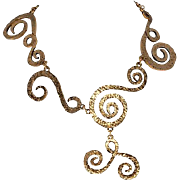 SALE PENDING CHANEL Asymetric Swirling Gold Plated Necklace 1970s