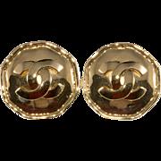 CHANEL Octagon CC Logo Earrings 1990s