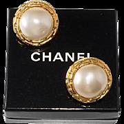 SALE PENDING CHANEL Round Faux Pearl Earrings 1970s