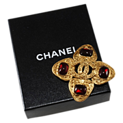 SALE CHANEL CC Logo Red Gripoix Glass Brooch Pin