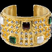 CHANEL Gripoix Glass & Pearl Rhinestone Cuff Bracelet
