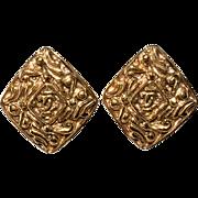 CHANEL Diamond-Shaped CC Logo Earrings