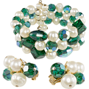 Hattie Carnegie Green & Pearl Wrap Bracelet & Earrings Set
