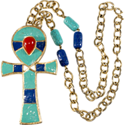 Hattie Carnegie Egyptian Revival Ankh Necklace or Brooch