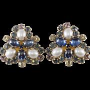 Hattie Carnegie Blue Rhinestone Faux Pearl Earrings Vintage