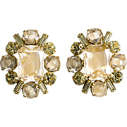 Hattie Carnegie Givre' Yellow Rhinestone Earrings