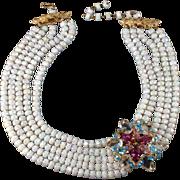 SALE Castlecliff Rhinestone & Iridescent Bead Necklace