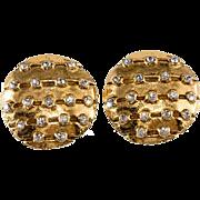 CHANEL Round Rhinestone Earrings 1970s Vintage