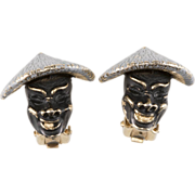 SALE Enameled Face Earrings w/ Chinese Hats