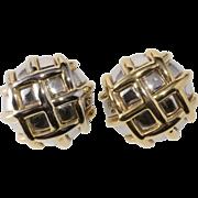 Ciner Basket Weave Round Earrings