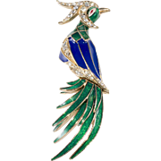 Ciner Enamel Blue Green Bird of Paradise Brooch Pin