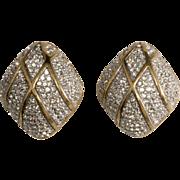 Ciner Clear Rhinestone Domed Diamond Shaped Earrings