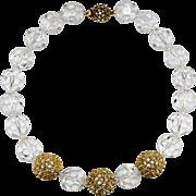 Ciner Clear Crystal Bead Rhinestone Ball Necklace