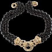 Ciner Leopard Rhinestone Necklace w/ Black Beads