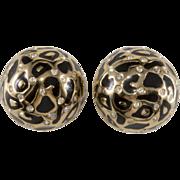 Ciner Domed Leopard Print Rhinestone Earrings