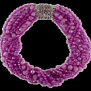 Ciner Purple Glass Bead Torsade Necklace Rhinestone Clasp