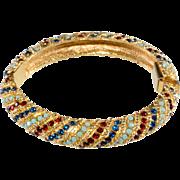 Blue & Red Rhinestone Hinged Bangle Bracelet Ciner Style Small Size