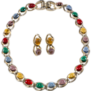 Coro 1940s Jewel Tone Cabochon Necklace Earrings Set