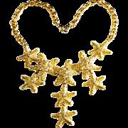 CRAFT Starfish Rhinestone Bib Necklace