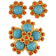 William de Lillo Turquoise Blue and Coral Glass Brooch Earrings Set 1960s Vintage