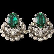 SALE De Rosa Sterling Emerald Green & Rhinestone Earrings