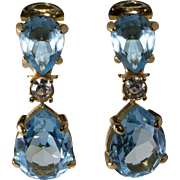 Christian Dior Blue Rhinestone Dangle Earrings 1980s