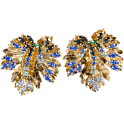 Roger Jean Pierre for Dior Blue Rhinestone Earrings