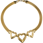SALE Christian Dior Goldtone Heart Necklace