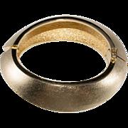 Christian Dior Brushed Goldtone Hinged Bangle Bracelet