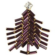 SALE Dominique Purple Baguette Rhinestone Christmas Tree Pin Brooch